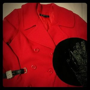 Red knit swing peacoat lined 1x jacket